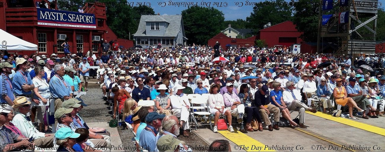 a standing room only crowd. MorganLaunch MysticSeaport