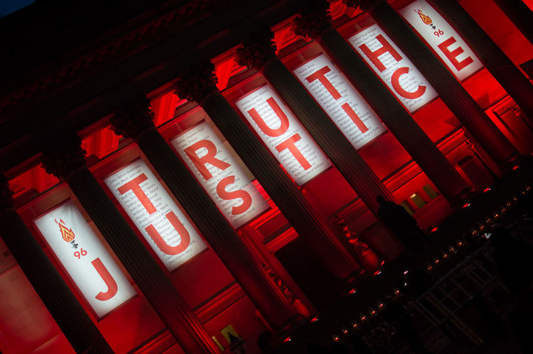 Truth Text Illuminated Red Night Low Angle View No People Building Exterior Liverpool, England Lfc YNWA JFT96 JFT 96 Justice
