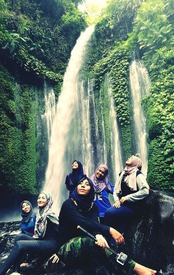 Tiu Kelep Waterfall TiuKelep Lombok Indonesia Water Bonding Vacations Beauty In Nature Outdoors Togetherness Indonesia Scenery People Tree Adults Only Adult Day