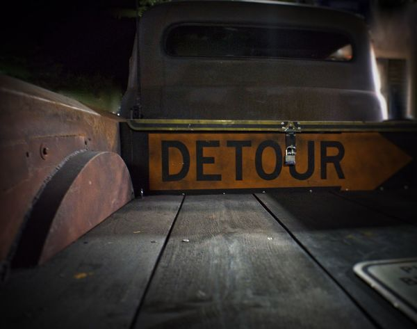 Antique Truck Arrow Symbol Capital Letter Communication Composition Detour Direction Guidance Information Information Sign Ingenuity Perspective Recycled Sign Road Sign Sign Symbol Text Warning Sign Dramatic Angles