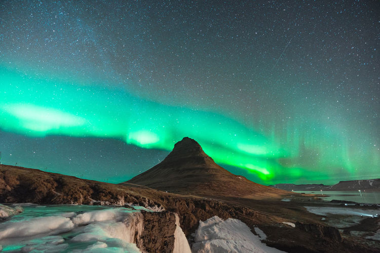find more travel inspiration at https://www.instagram.com/simonmigaj Aurora Aurora Borealis Iceland Kirkjufell Astrophotography Aurora Polaris Beauty In Nature Cold Temperature Landscape Mountain Natural Phenomenon Nature Night No People Outdoors Scenics Sky Snow Space Star - Space Stars Tranquil Scene Tranquility Travel Destinations Winter EyeEmNewHere