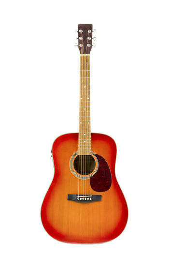 Acoustic Blues Cherry Classic Country Isolated Keys Music Orange Red Sunburst Amplified Brown Copper  Electrified Folk Guitar Instrument Play Silver  Strings Vertical Volume White Wooden