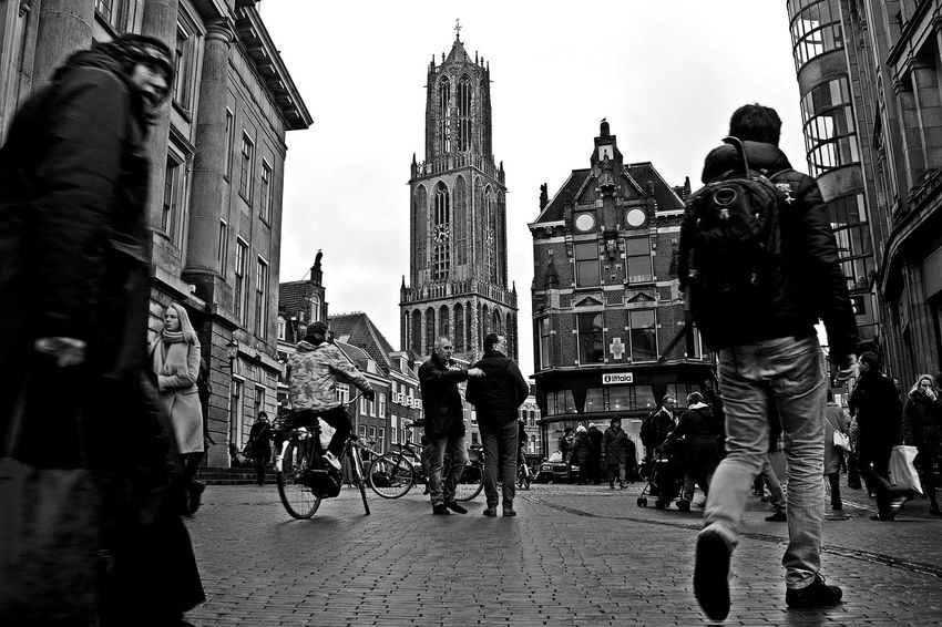 Utrecht Architecture Blackandwhite Built Structure City City Life City Street Dom Van Domkerk EyeEm Best Shots Holland Incidental People Monochrome Outdoors People Street Streetphotography Urban Walking POV Showcase: February Up Close Street Photography The Street Photographer - 2016 EyeEm Awards