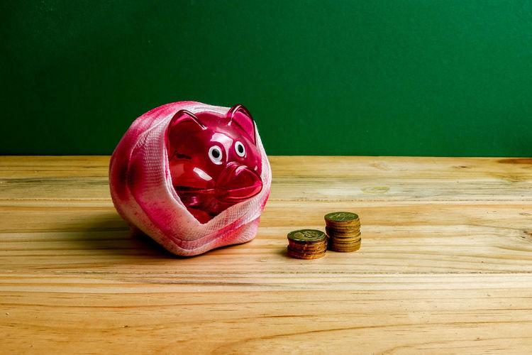 Green Color Piggy Bank Bandage Depreciation Depression Insurance Price Real People Saving Money Sick