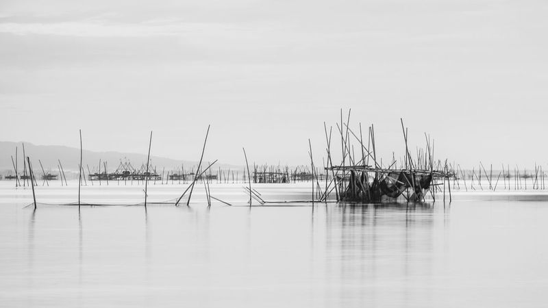Pole Abandoned Fishing Fish Water Sky Waterfront Sea Nature Scenics - Nature Fishing Industry No People EyeEmNewHere