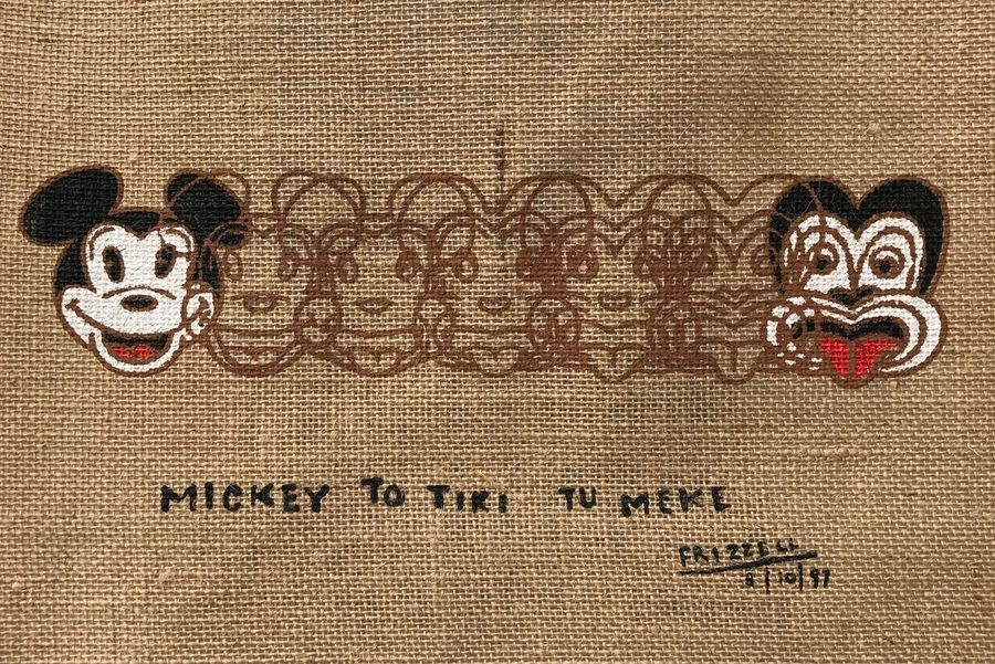 ArtWork Kiwi Art Frizzell Countdown Jutebeutel Jute Jute Sack Jutebag Micky Mouse Art Tiki Tu Meke Transformation Art Morphing Morphing Micky Mouse Maori Zealand New Zealand Shopping Bag Jute Print Carry Bag