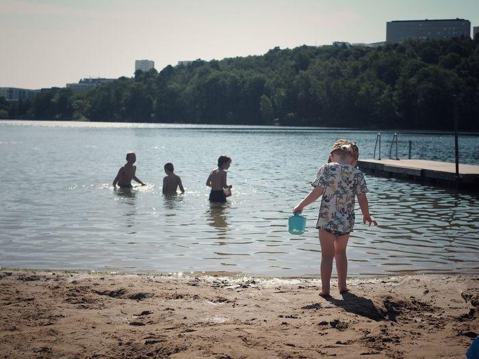Stockholm summer Playing Children Season  Scandinavia EyeEm Best Shots Fujifilm Beach Life Swimming City Water Childhood Child Real People Beach Nature Lifestyles Outdoors