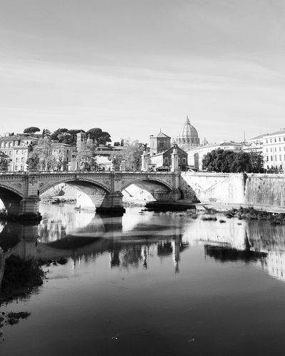 Rome Italy Rome Tevere River and Basilica Di San Pietro In Vaticano Rome Through My Eyes B&w Street Photography Black & White Black And White Black&white Blackandwhite Photography Blackandwhitephotography Black And White Collection  Black And White Photography Blackandwhitephoto Blackandwhite Streetphoto Showcase: December Sights Water Reflection Reflections In The River Water Reflections Reflections In The Water By The River Reflection_collection Reflection