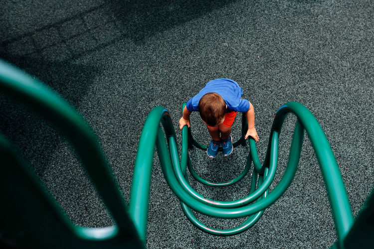High angle view of boy on playground