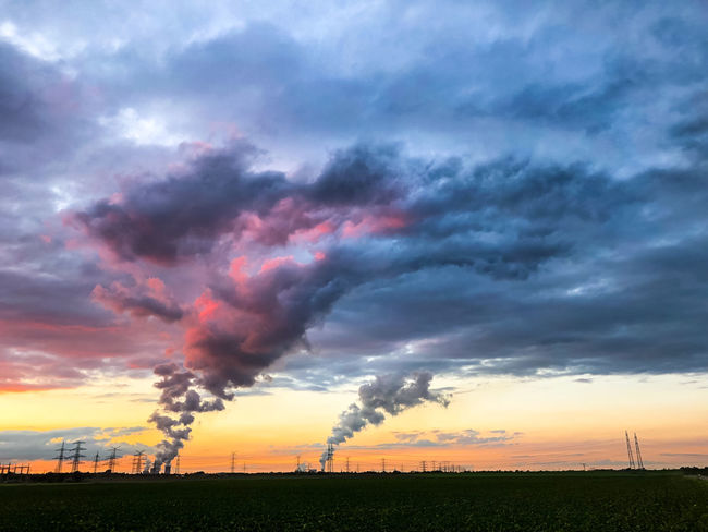 Power Plant Pollution Steam Power Plant Power Line  Electricity  Coal Storm Cloud Sunset Rural Scene Multi Colored Agriculture Full Length Romantic Sky Farmland Dramatic Sky Power Cable Cloudscape Power Supply