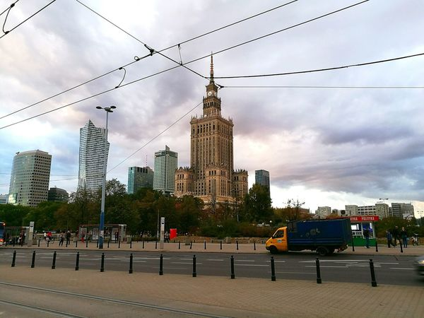 Warszawa  Warsaw Poland Architecture Pkin Skyscraper Sky City Built Structure Storm Cloud Outdoors Cloudy Urban Skyline People And Places HuaweiP9