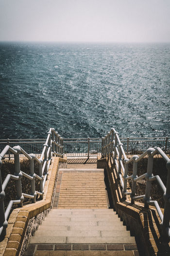 Gibraltar Gibilterra Spagna SPAIN A7RII Lightroom Sony Water Sea Steps And Staircases Staircase Steps Railing Horizon Over Water Sky Coast