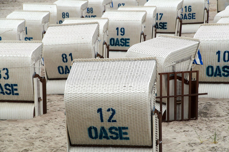 Numbers on hooded beach chairs