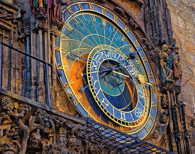 The dettail of Astronomical Clock display on the Old Town Square