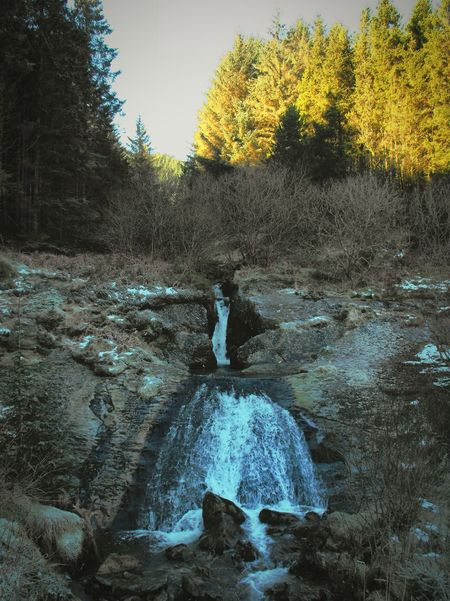 When the earth cracked. ... Waterfall Wales Mountains Winter Trees Forest горы River Stream водопад Лес река