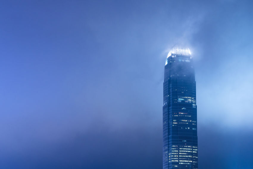 Hong Kong Building, Two IFC City Cloud Hong Kong Light Nightphotography Sky And Clouds Architecture Building Exterior Built Structure Business City Cityscape Corporate Business Downtown District Fog Illuminated Low Angle View Modern Night No People Outdoors Sky Skyscraper Tower Urban Skyline