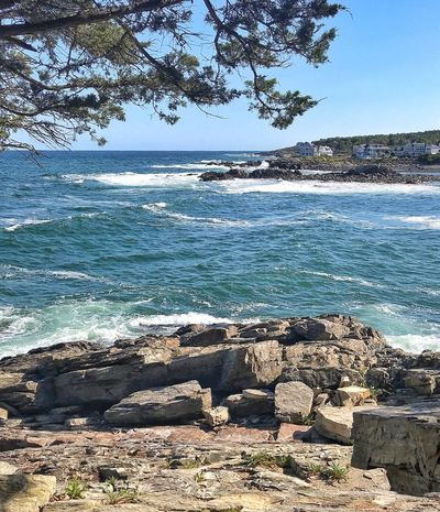 Ogunquit Maine Maine Coastline Marginal Way Water Sea Nature Sky Land Beach Beauty In Nature Tranquility Scenics - Nature Day Tranquil Scene Outdoors Rock - Object Horizon Over Water