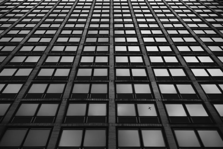 Taking flight from window. Architectural Feature Architecture Backgrounds Black And White Building Built Structure City City Life Day Design Exterior Façade Full Frame Geometric Shape In A Row Low Angle View Modern No People Office Building Outdoors Repetition Side By Side Sky Tall - High The Architect - 2016 EyeEm Awards Modern Workplace Culture A New Perspective On Life My Best Photo