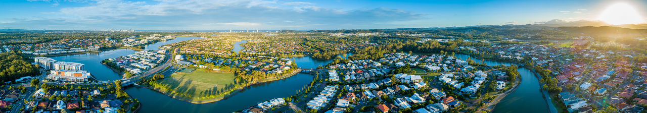 Aerial View Aerial Aerial Photography Landscape Drone Photography Australia Australian Landscape Luxury Suburb Luxury Real Estate Gold Coast Real Estate Varsity Lakes Queensland Building Exterior Sleeping Quarters Sunset Wide Panorama