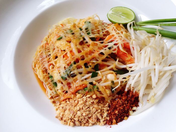 Close-Up Of Pad Thai Served In Plate