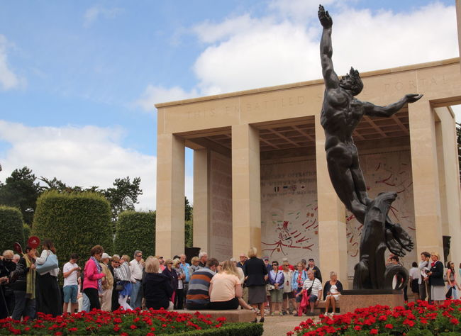 Architecture Art Art And Craft Colleville-sur-Mer Column Creativity Cultures Famous Place History Human Representation International Landmark Low Angle View Monument Normandy American Cemetery Sculpture Statue The Tourist Togetherness