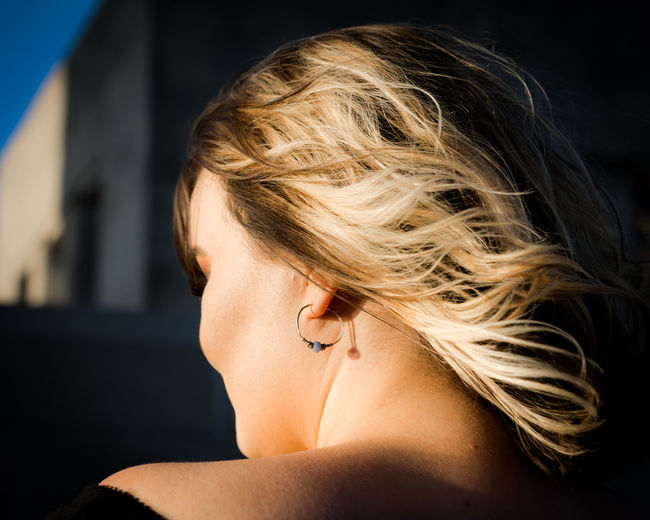 Adult Beautiful Woman Beauty Blond Hair Close-up Focus On Foreground Hair Hairstyle Headshot Human Face Human Hair Lifestyles Light And Shadow One Person Portrait Profile View Real People Shirtless Women Young Adult Young Women The Portraitist - 2018 EyeEm Awards