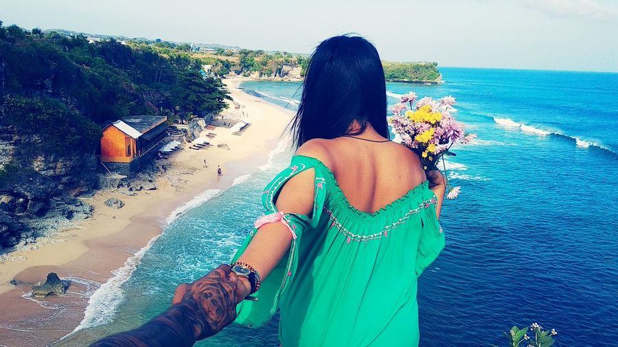 Close-up Landscape Bali, Indonesia EyeEmNewHere Beachphotography Bali PhonePhotography Ocean Sea Nature Lovve Couple - Relationship INDONESIA Balangan Beach Uluwatu Bali Water Young Women Sea Beach Women Rear View Summer Relaxation Sky Horizon Over Water