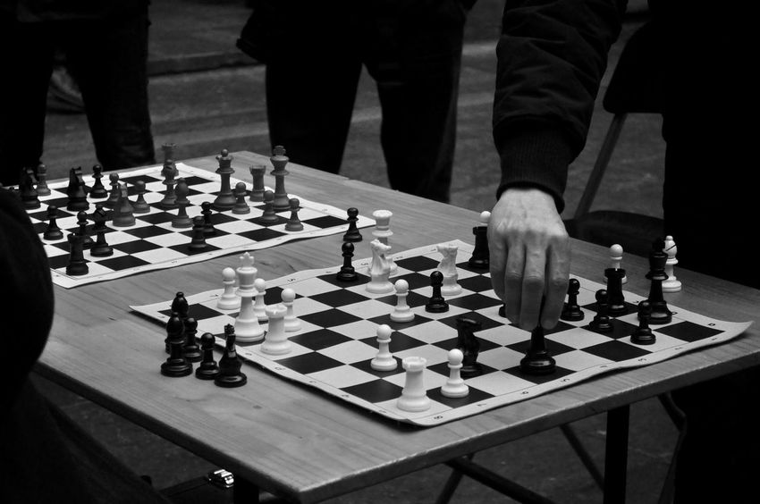 Action Action Photography Board Game Challenge Checked Pattern Chess Chess Board Chess Piece Close-up Competition Day Decisions Friends Game Games Intelligence Leisure Games Make A Move Men Move Old Friends People Playing Strategy Exceptional Photographs Place Of Heart EyeEm Selects Second Acts Black And White Friday
