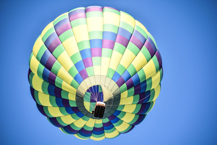 Low angle view of hot air balloons