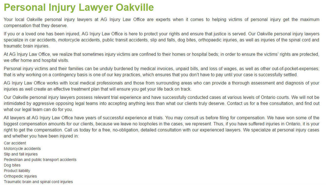AG Injury Law Office 2020 Winston Park Dr #104 Oakville ON L6H 6X7 800-870-3194 https://aginjurylaw.ca Injury Lawyer Oakville Injury Lawyer Oakville ON Oakville Personal Injury Lawyer Personal Injury Lawyer Oakville Personal Injury Lawyer Oakville ON