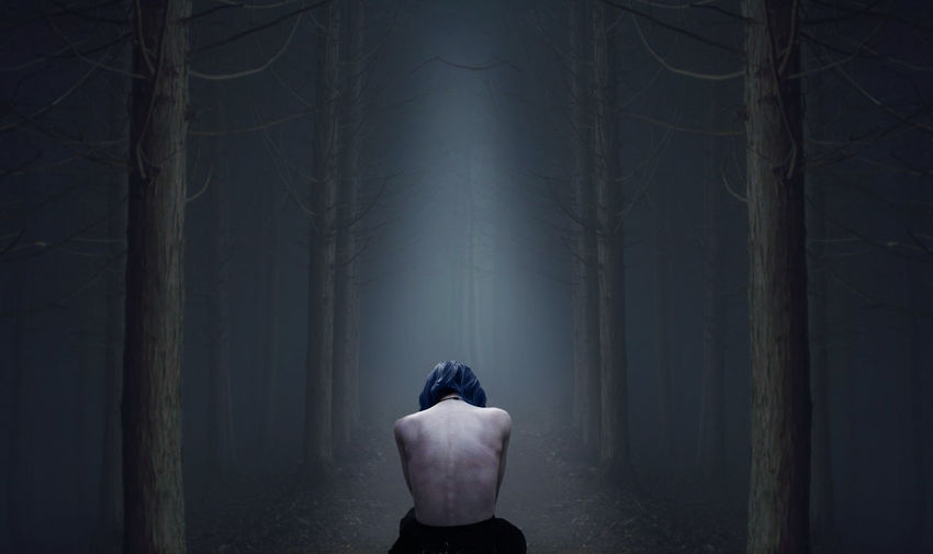 Rear View Of Shirtless Woman Sitting In Forest