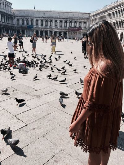 Side view of woman standing by pigeons at piazza san marco