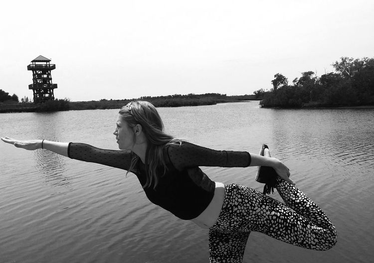 Portrait Of A Friend Yoga Pose In The Forest At The Lake Posing Black And White Photography Side Profile Being Silly Balancing Act