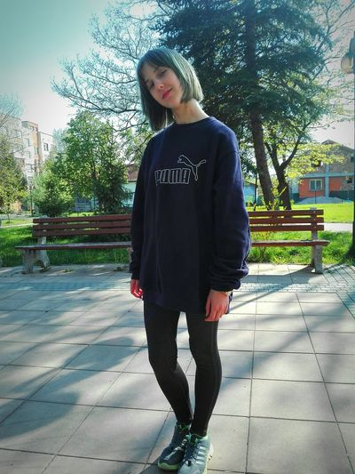 One Person Casual Clothing Outdoors Day Young Adult Tree Sky Sunny Girl Aesthetics Cut And Paste Real People Lifestyles People Young Women Standing
