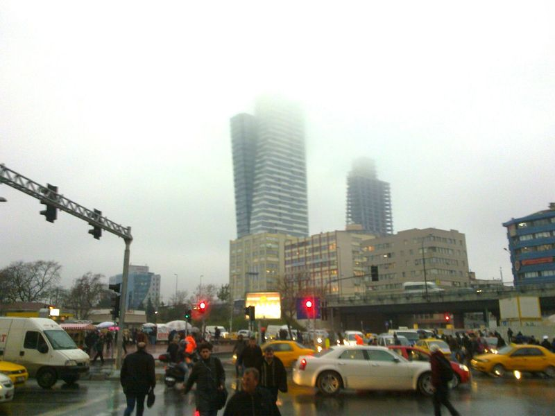 Onceuponatime Once Upon A Time Istanbul Mecidiyekoy Wintertime People Crowd Traffic Overpass Skyscraper Skyscrapers Clouds Cloudy Day Foggy Day Cars Winter