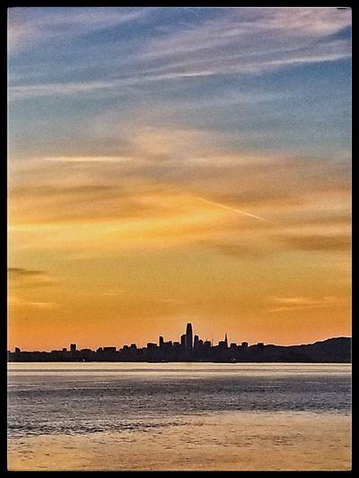 San Francisco cityscape 2018 Sunset Beach Sea Dramatic Sky Tourism Vacations Travel Destinations