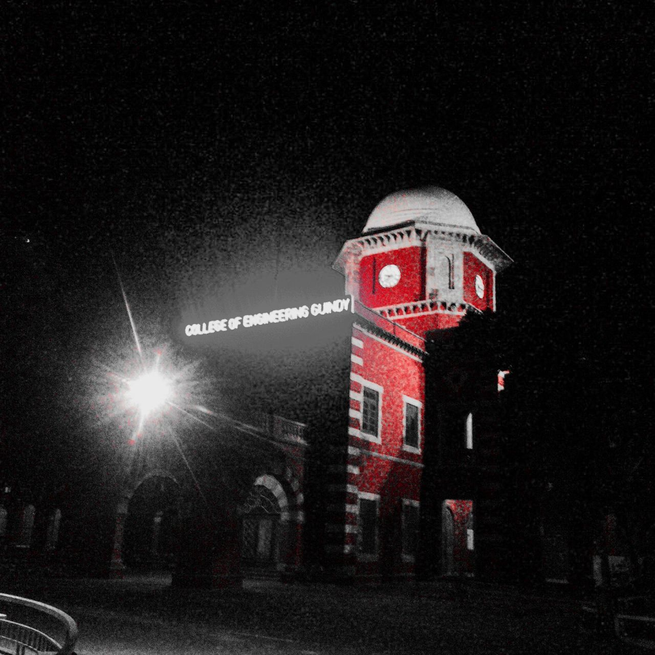 night, building exterior, architecture, red, illuminated, outdoors, built structure, no people, city