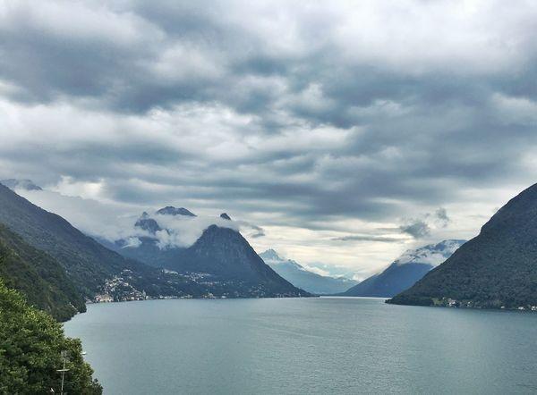 Beauty In Nature Cloud - Sky Cloudy Day Lago Lago Di Lugano  Lake Mountain Mountain Range Nature No People Scenics Sky Tranquil Scene Water