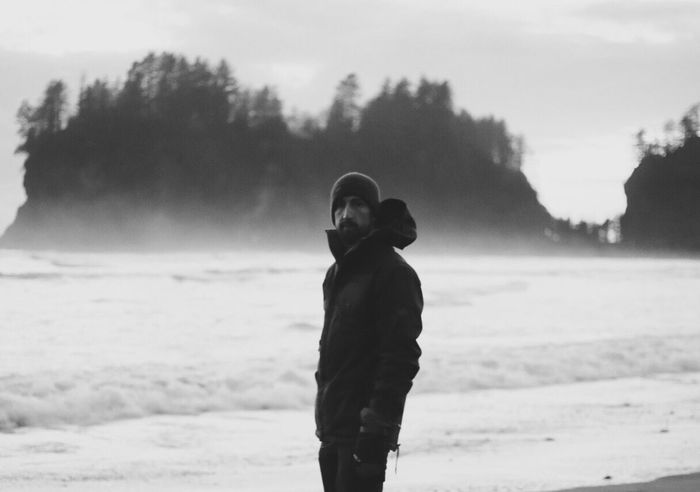Real People Outdoors One Person Cold Temperature Sky Men Focus On Foreground Day Standing Rear View Lifestyles Winter Nature Beach Tree Warm Clothing Young Adult Blackandwhite Tadaa Community Winter Seattle Nature