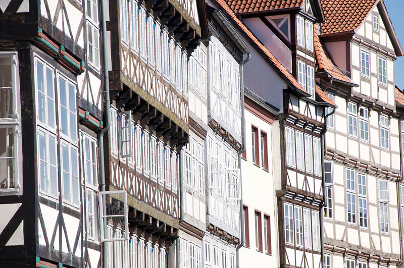 Low-angle view of half-timbered houses in the old town of the north german city of hannover