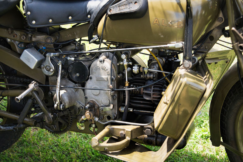 Close-up Engine Engine Detail Italian Military Motorcycle MotoGuzzi Alce No People Old Military Vehicle Outdoors Transportation