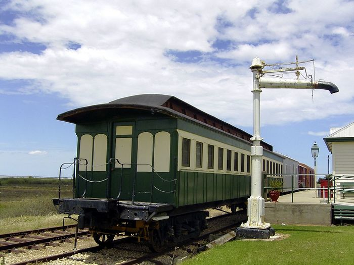 Historic rolling stock in Milang Railway Station, South Australia Milang Rail Station Travel Travel Photography Architecture Cloud - Sky Day Field Grass Historic Mode Of Transportation Nature No People Outdoors Plant Public Transportation Rail Transportation Railroad Car Railroad Track Sky Track Train Train - Vehicle Transportation Travel Destination