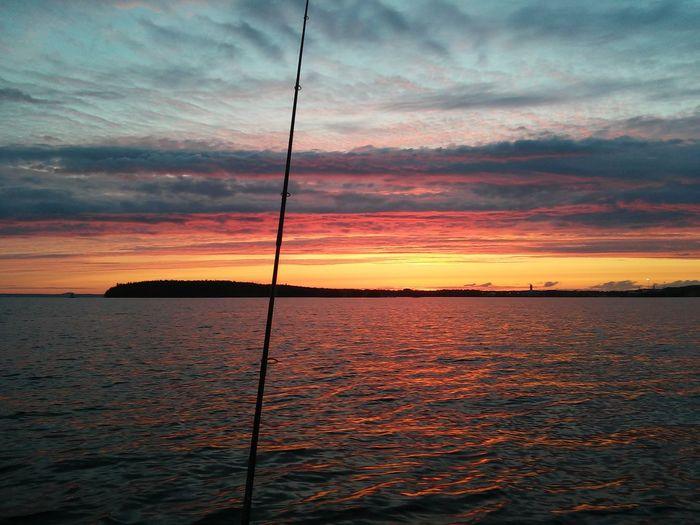 Fishing is golden Fishing Sunset Atlake Summer Light Lake Water Sky Cellphone Photography