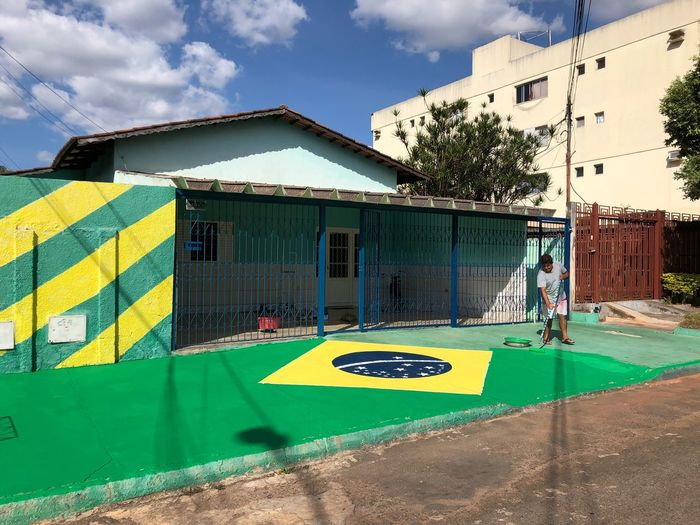 🇧🇷🇧🇷🇧🇷 Power Generation Championship Champion Russia Worldcup Patriots  Patriotic Patriotism Flags Flag Soccer Football Brazil Brasil Built Structure Architecture Building Exterior Cloud - Sky Sky Day Multi Colored Communication Yellow Graffiti Building Sign Sunlight City Sport Green Color