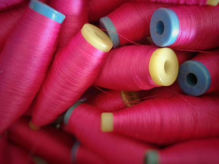 pink yarn on