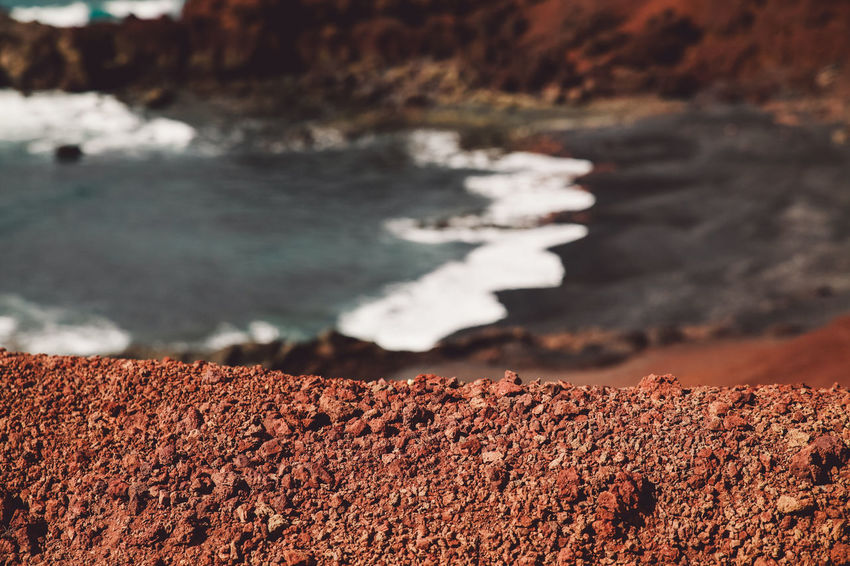 Canary Islands Lanzarote SPAIN Travel Volcanoes Day Geological Formation Island Landscape Selective Focus Volcanic  Volcano Water Waves