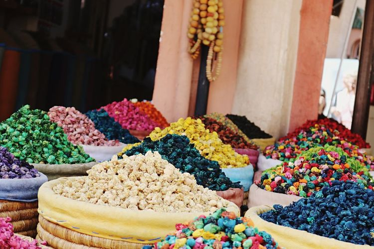Beautiful colors in Morocco EyeEm Selects Multi Colored Choice For Sale Retail  Variation Large Group Of Objects Market Small Business Freshness Food Day Business No People Market Stall Store