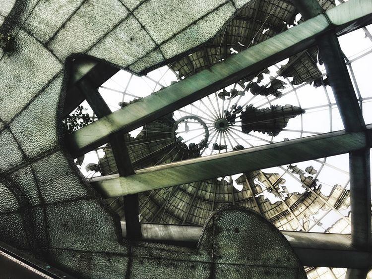 Under the Unisphere Low Angle View Built Structure Architecture No People Outdoors Flushing Meadows Corona Park Queens NYC IPhoneography FiveSigmaPhoto Death Star 1964 New York World's Fair World The Graphic City