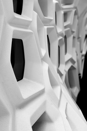 "Space hive, (artwork: ""Serpenti"" by Zaha Hadid) Abstract ArtWork B&w Blackandwhite Design Futuristic Patterns Geometric Shape Honeycomb Modern Pattern Repetition Space White Hive"