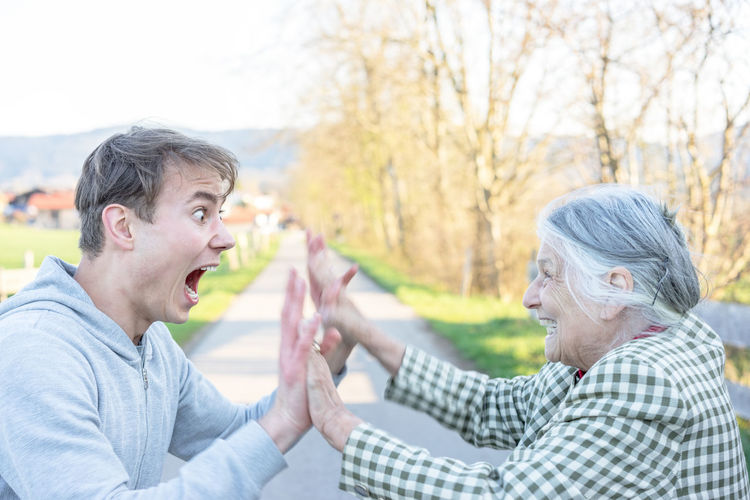 Almshouses Clapping Hands Family Grandma Grandma And Grandson Grandson Happiness Happy Old People Happy Together   Old People Retirement Suprise Togetherness